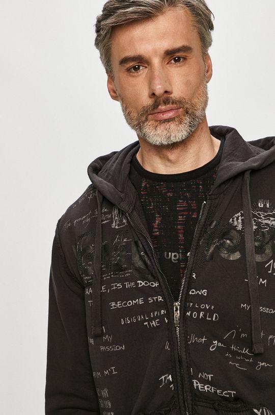 grafitowy Desigual - Bluza bawełniana
