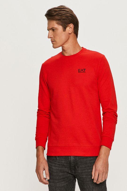 červená EA7 Emporio Armani - Tričko s dlhým rukávom Pánsky