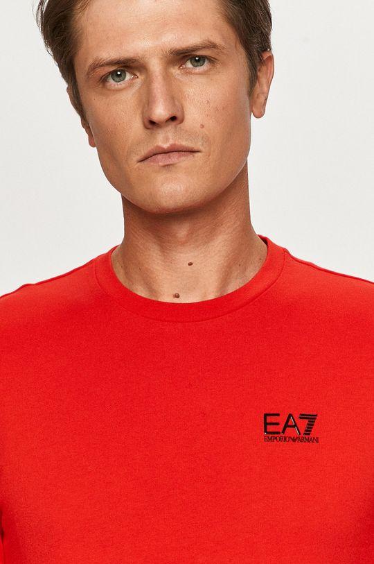 červená EA7 Emporio Armani - Tričko s dlhým rukávom