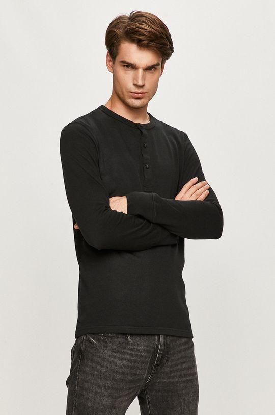 čierna Selected - Tričko s dlhým rukávom Pánsky