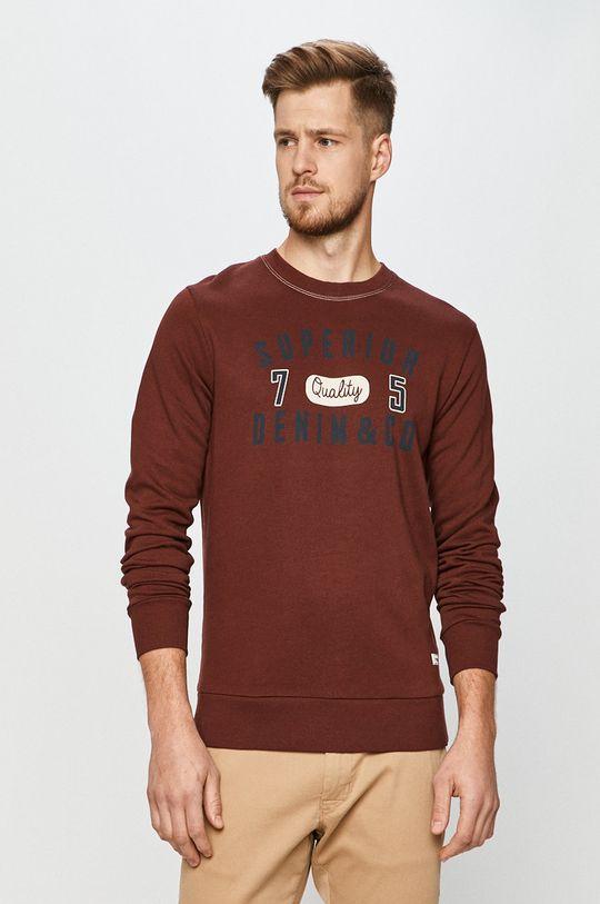 mahoniowy Produkt by Jack & Jones - Bluza bawełniana Męski