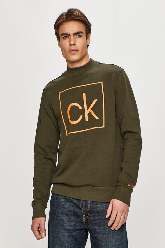 zelená Calvin Klein - Bavlnená mikina Pánsky