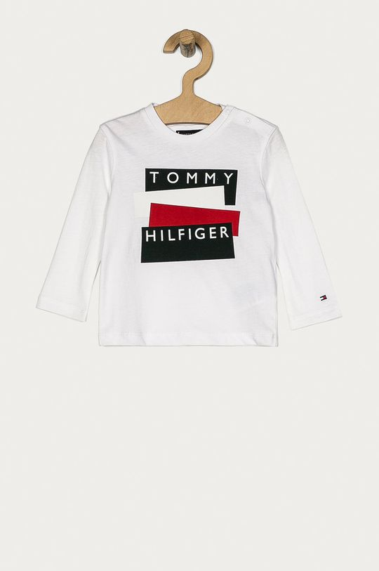 alb Tommy Hilfiger - Longsleeve copii 74-176 cm De băieți