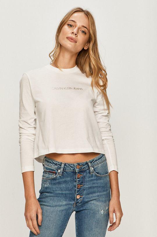 biela Calvin Klein Jeans - Tričko s dlhým rukávom Dámsky