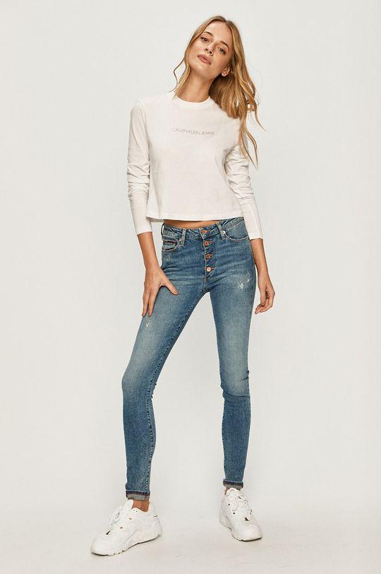 Calvin Klein Jeans - Tričko s dlhým rukávom biela