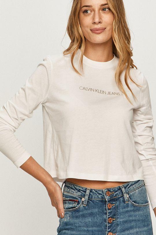 biela Calvin Klein Jeans - Tričko s dlhým rukávom