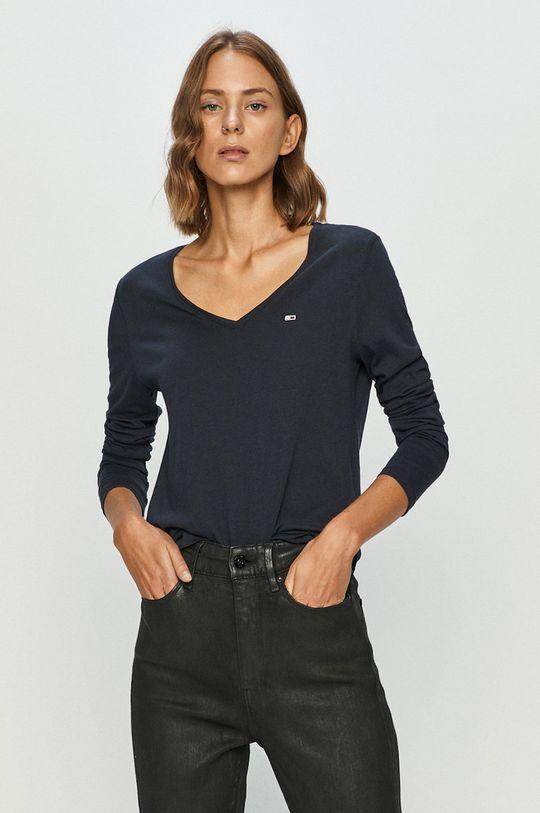 tmavomodrá Tommy Jeans - Tričko s dlhým rukávom Dámsky