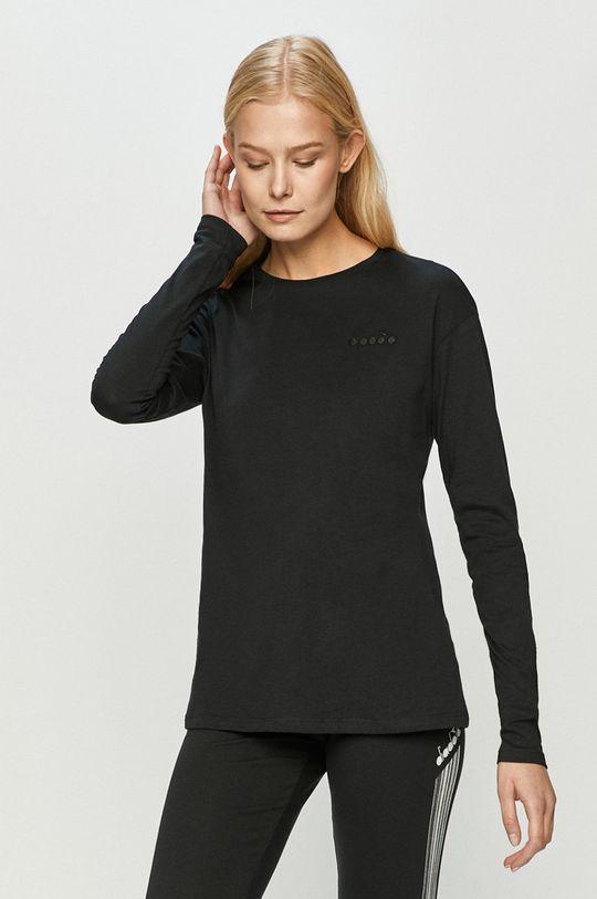 čierna Diadora - Tričko s dlhým rúkavom Dámsky