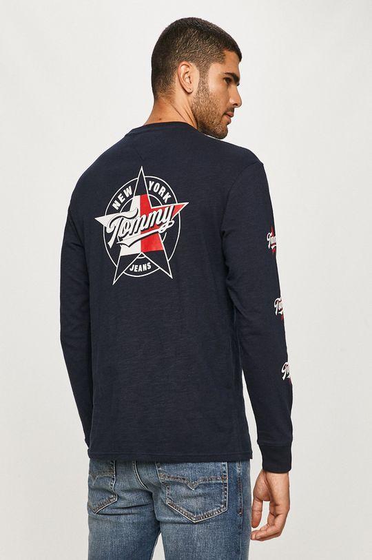 tmavomodrá Tommy Jeans - Tričko s dlhým rukávom Pánsky