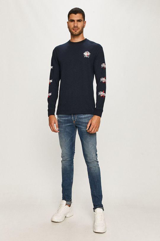 Tommy Jeans - Tričko s dlhým rukávom tmavomodrá
