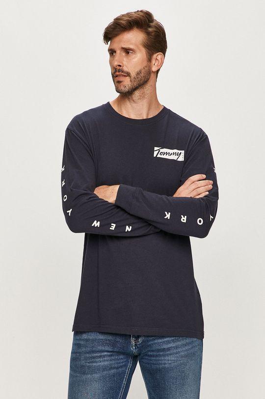 tmavomodrá Tommy Jeans - Tričko s dlhým rúkavom Pánsky