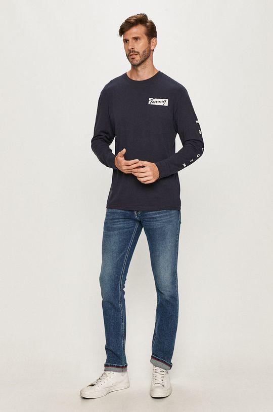 Tommy Jeans - Tričko s dlhým rúkavom tmavomodrá