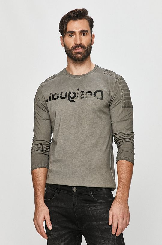 šedá Desigual - Tričko s dlouhým rukávem Pánský