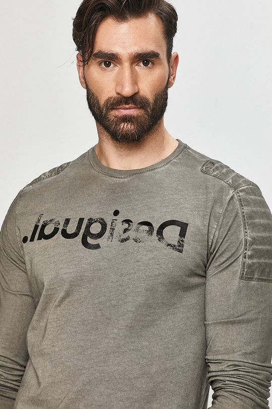 šedá Desigual - Tričko s dlouhým rukávem