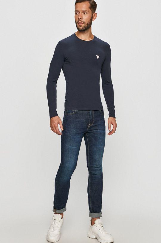 Guess Jeans - Tričko s dlouhým rukávem námořnická modř