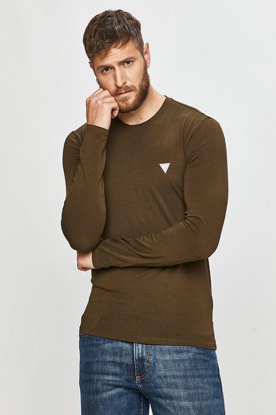 tlumená zelená Guess Jeans - Tričko s dlouhým rukávem Pánský