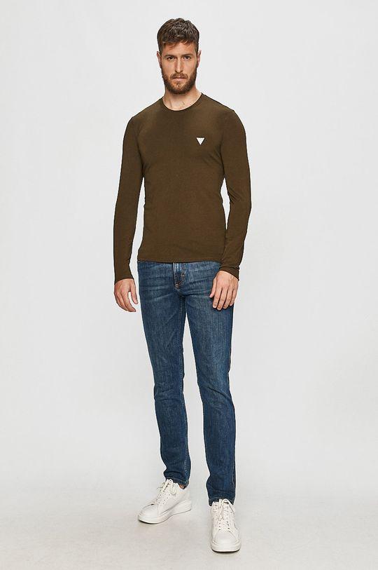 Guess Jeans - Tričko s dlouhým rukávem tlumená zelená