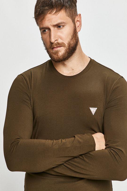 tlumená zelená Guess Jeans - Tričko s dlouhým rukávem