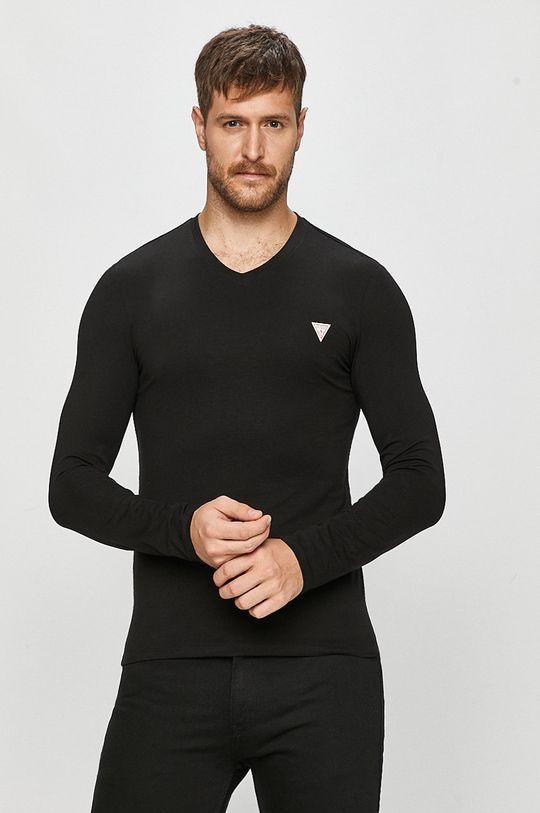 černá Guess Jeans - Tričko s dlouhým rukávem Pánský