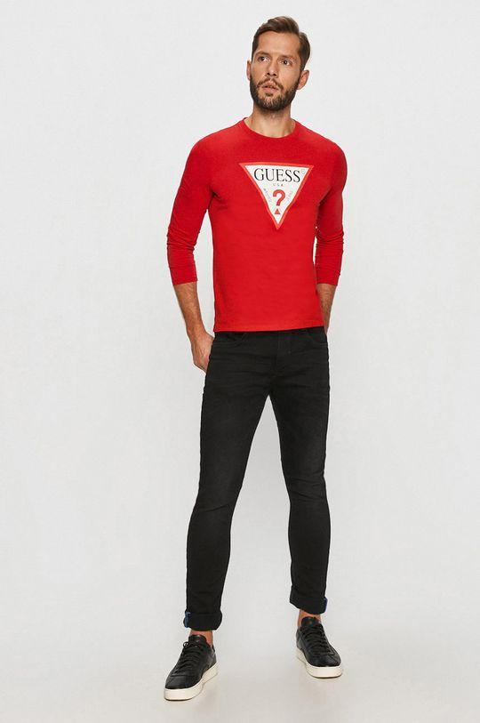 Guess Jeans - Tričko s dlouhým rukávem červená