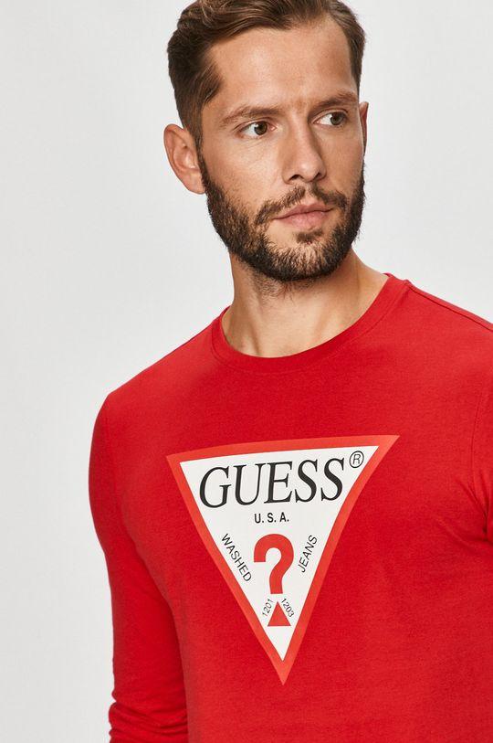 červená Guess Jeans - Tričko s dlouhým rukávem