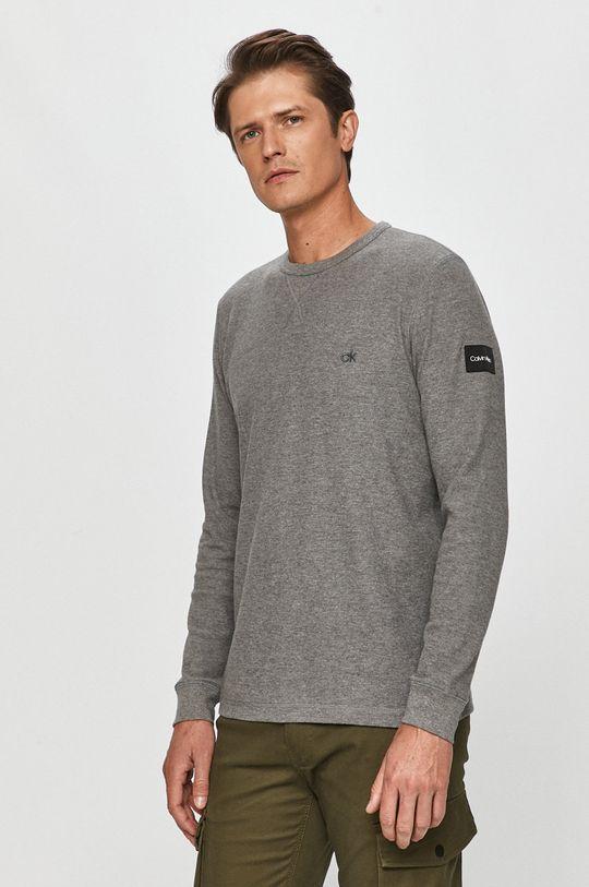 šedá Calvin Klein - Tričko s dlouhým rukávem Pánský