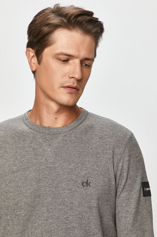 šedá Calvin Klein - Tričko s dlouhým rukávem