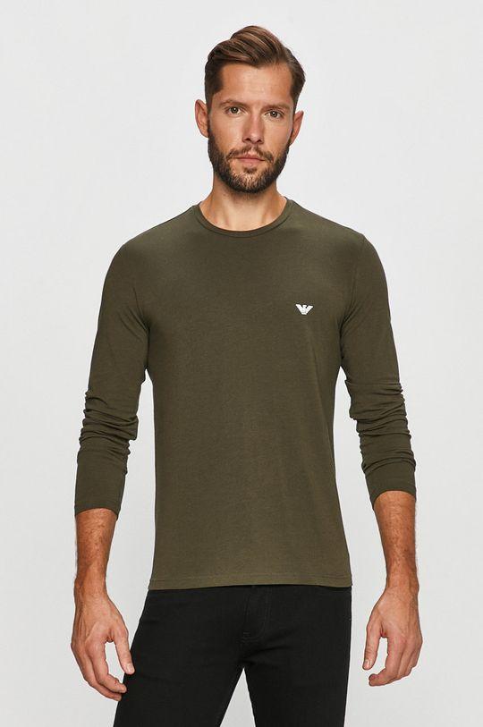 khaki Emporio Armani - Tričko s dlouhým rukávem Pánský