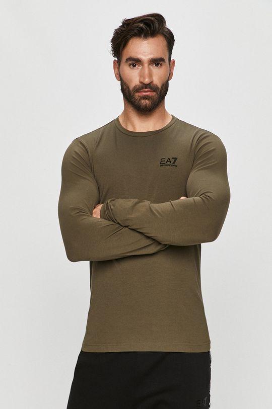 zelená EA7 Emporio Armani - Tričko s dlouhým rukávem Pánský