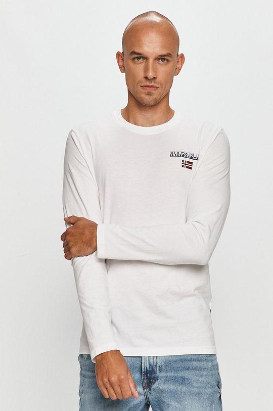 biela Napapijri - Tričko s dlhým rúkavom Pánsky