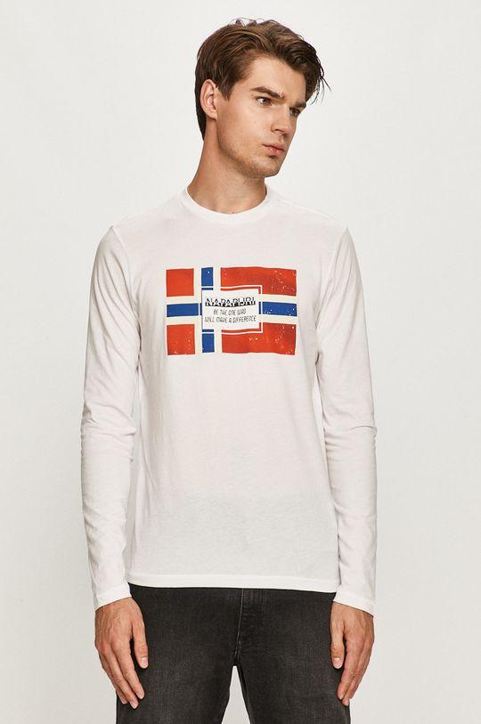 biela Napapijri - Tričko s dlhým rukávom Pánsky