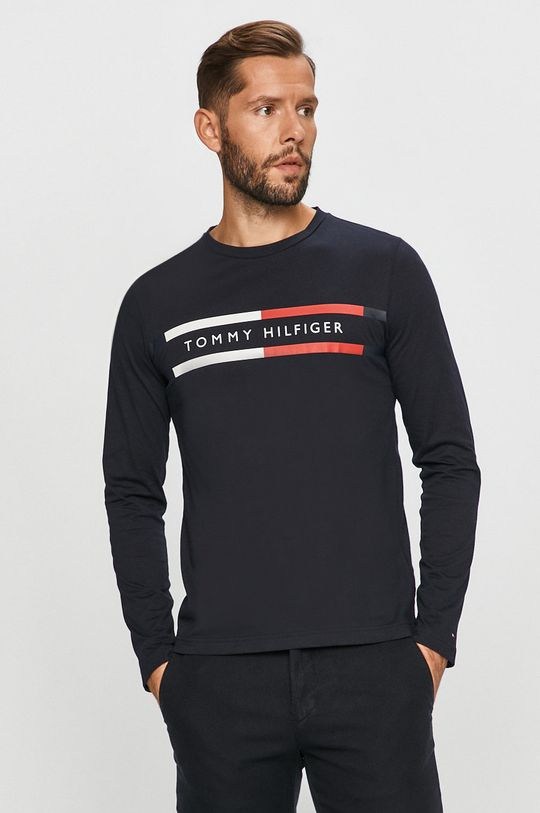námořnická modř Tommy Hilfiger - Tričko s dlouhým rukávem Pánský