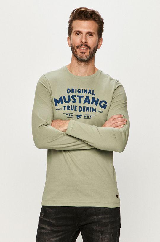 svetlá tyrkysová Mustang - Tričko s dlhým rúkavom Pánsky