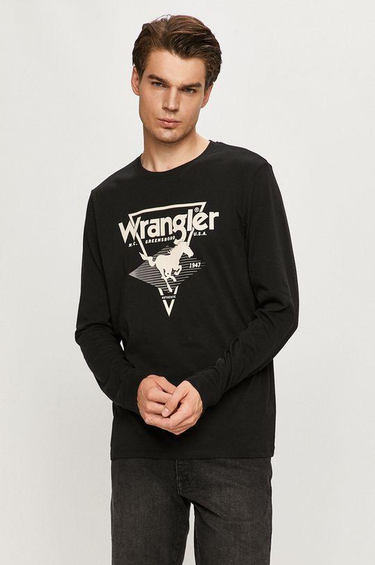 čierna Wrangler - Tričko s dlhým rukávom Pánsky