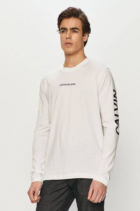 biały Calvin Klein Jeans - Longsleeve Męski
