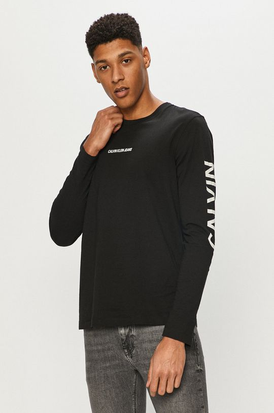 černá Calvin Klein Jeans - Tričko s dlouhým rukávem