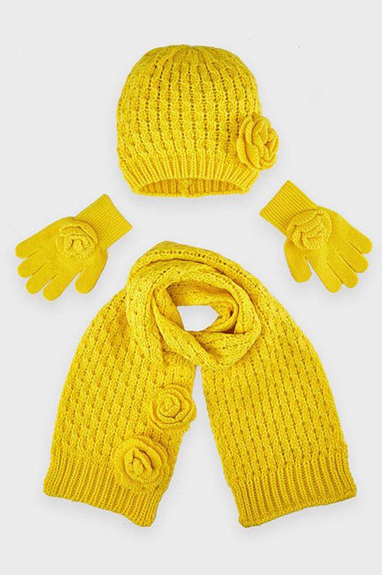 Mayoral - Czapka, komin i rękawiczki dziecięce jasny żółty