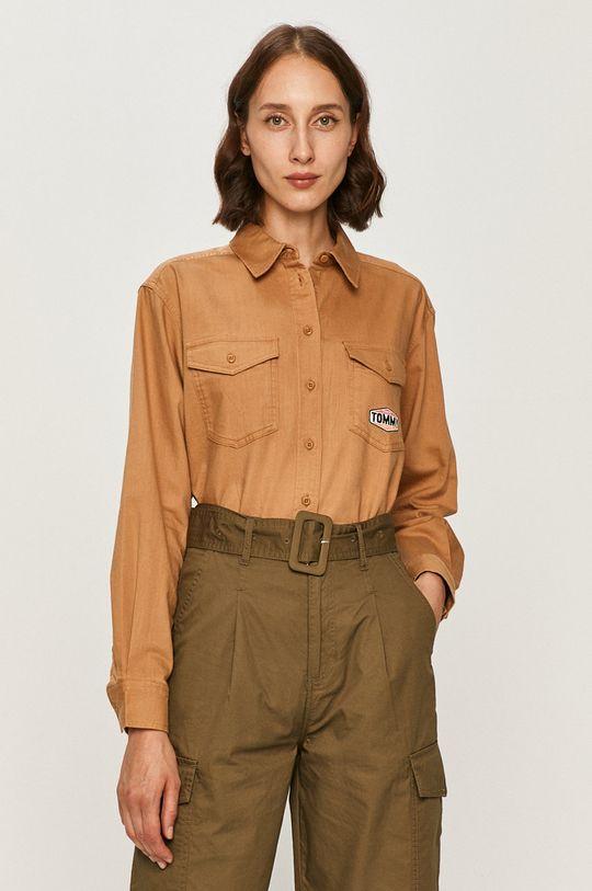 złoty brąz Tommy Jeans - Koszula jeansowa Damski