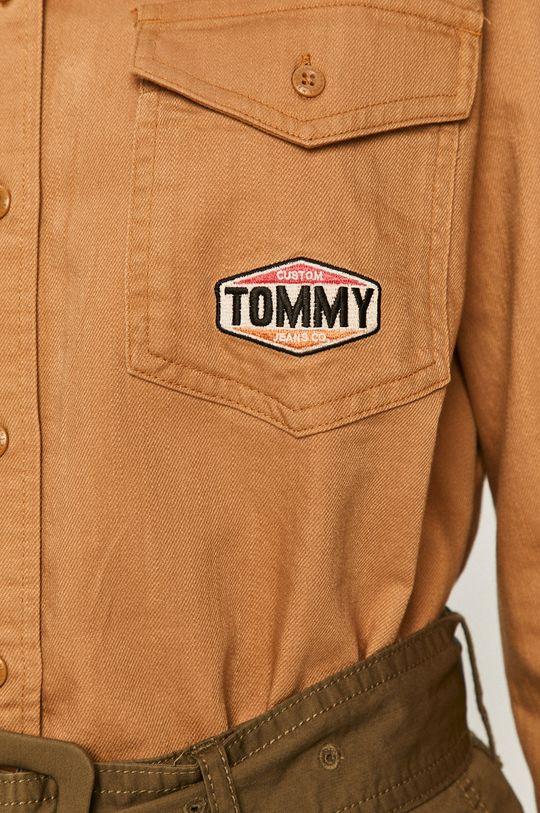 Tommy Jeans - Koszula jeansowa złoty brąz