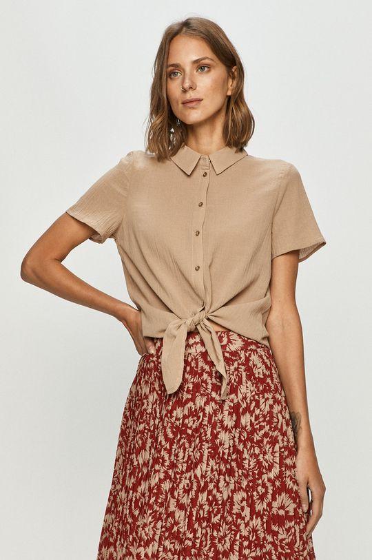 piaskowy Vero Moda - Koszula bawełniana Damski