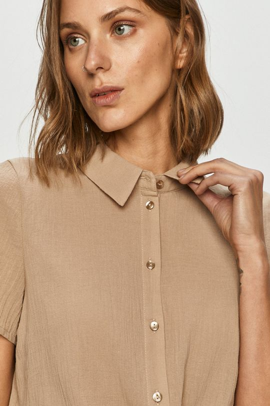piaskowy Vero Moda - Koszula bawełniana