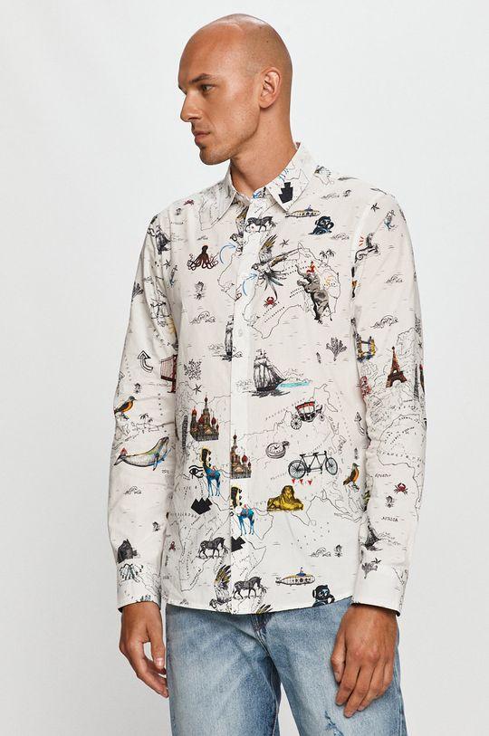 biela Desigual - Bavlnená košeľa Pánsky