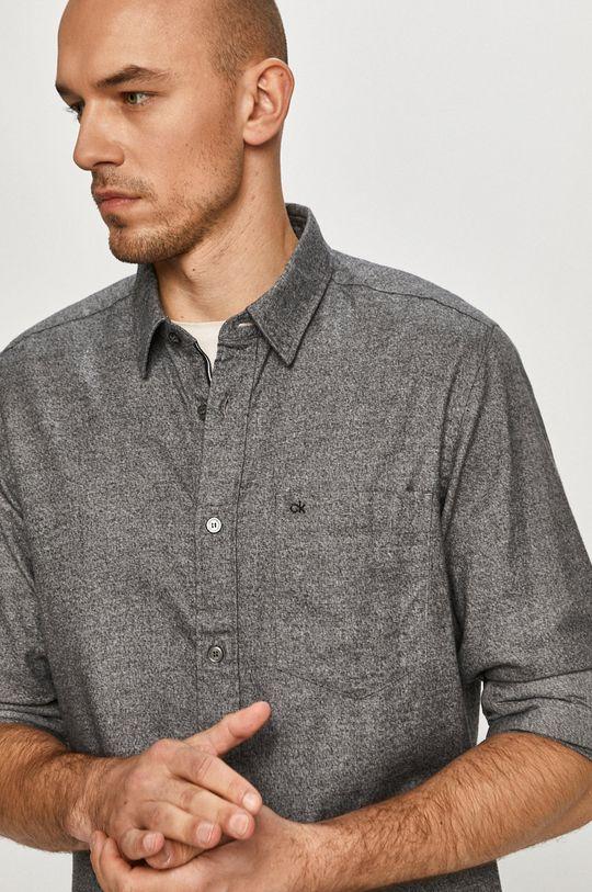 szary Calvin Klein - Koszula bawełniana Męski