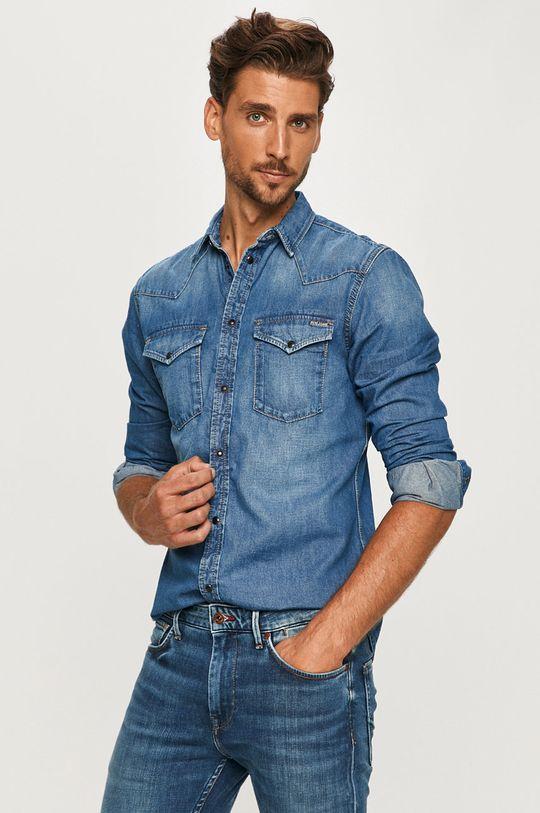 modrá Pepe Jeans - Džínová košile Noah Pánský