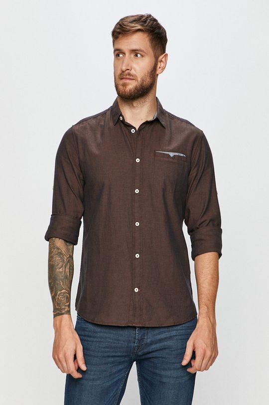 hnedá Tom Tailor Denim - Bavlnená košeľa Pánsky