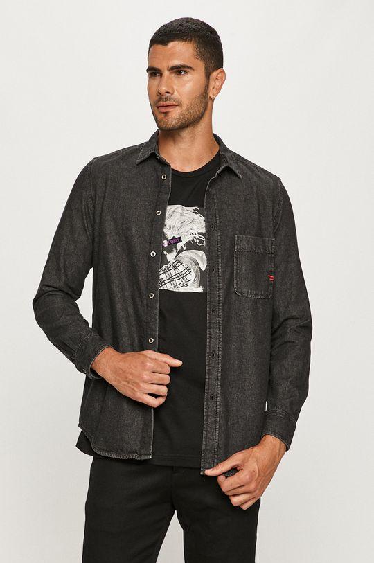 czarny Diesel - Koszula jeansowa Męski