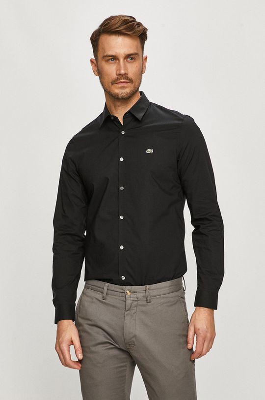 czarny Lacoste - Koszula bawełniana Męski