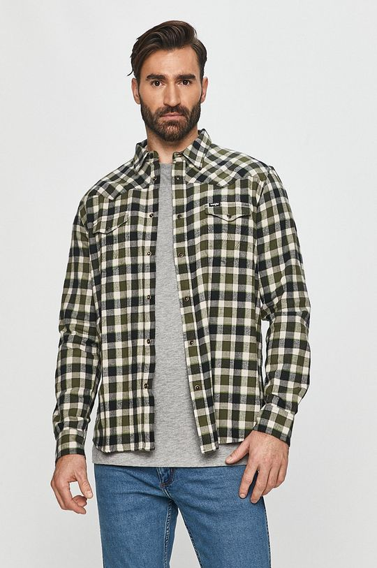 olivová Wrangler - Bavlněné tričko Pánský