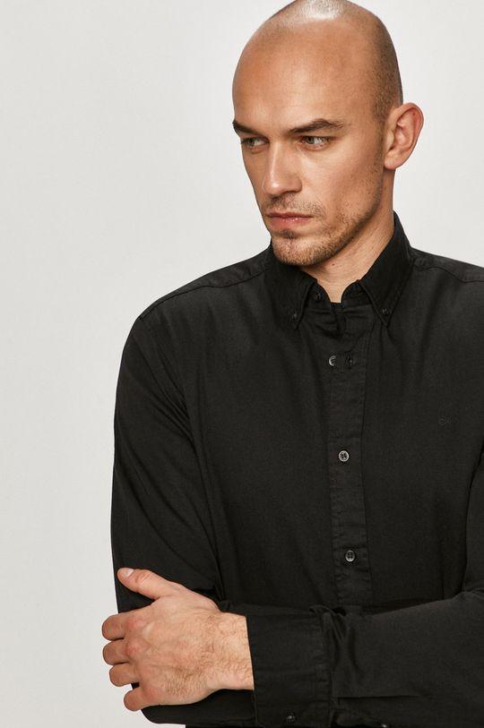 czarny Calvin Klein - Koszula bawełniana Męski