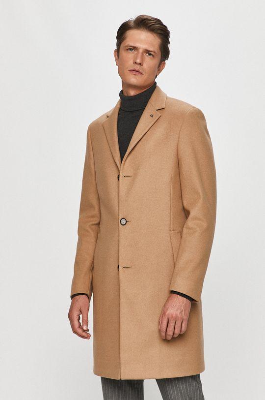beżowy Calvin Klein - Płaszcz Męski